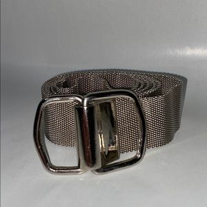 Silver metal mesh loop belt